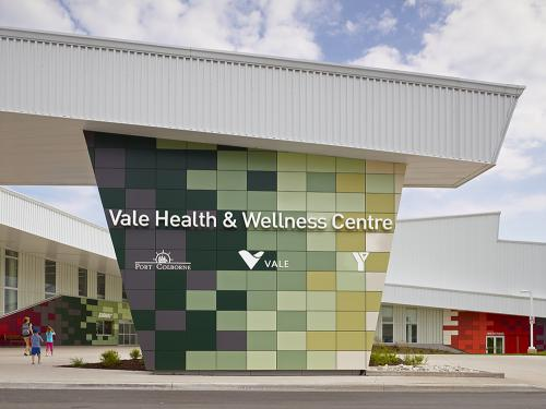 Vale Health & Wellness Centre's Entrance Pillar